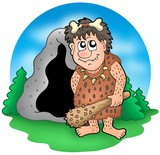 Cartoon prehistoric man before cave poster