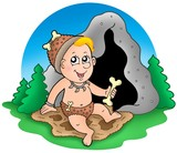 Cartoon prehistoric baby before cave poster