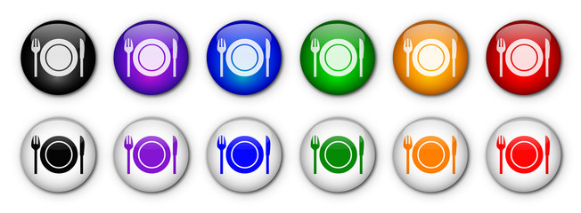 "Boutons ""Restaurant"" (x12 - multicolores)"