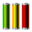 Batteries with different colors isolated over white