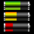 Batteries with different charge levels and reflex over black
