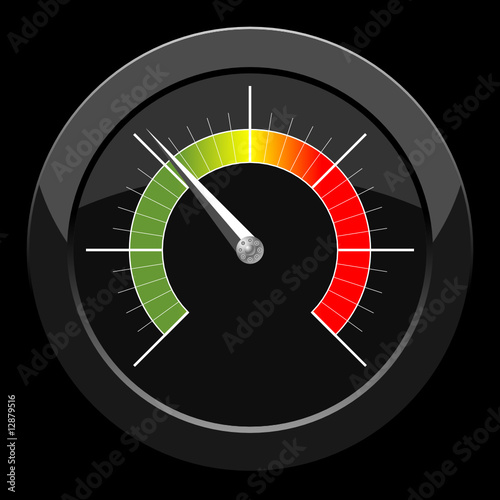 Manometer with colored scale over black background