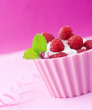 Raspberry and mint on ice-cream