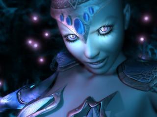 female wizard in mystic smoke casting spell