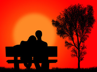 Innamorati sulla panchina