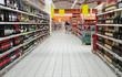 Leinwanddruck Bild - Wine department in supermarket