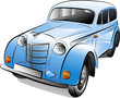 Drawing of the color retro car, vector illustration