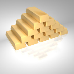Stack of gold ingots.  3d rendered image.