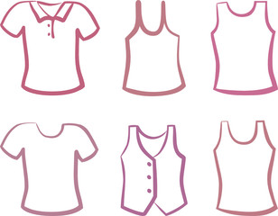 Silhouettes of shirts