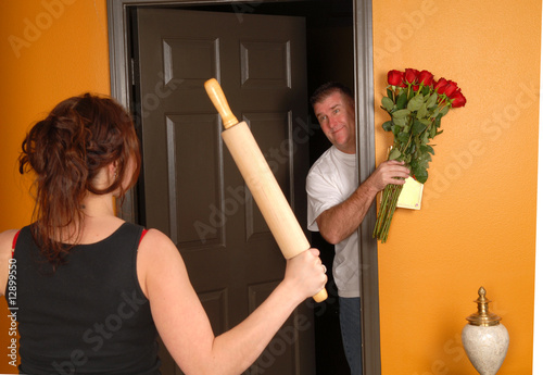 Husband coming home late to angry wife
