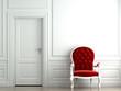 red velvet armchair on white wall
