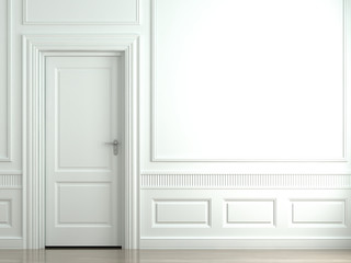 white classic wall with door