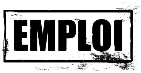 marquage tampon noir avec le mot emploi en français