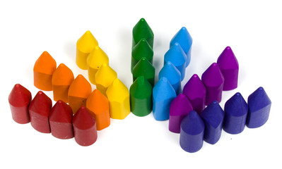 Seven numbers of wax crayons