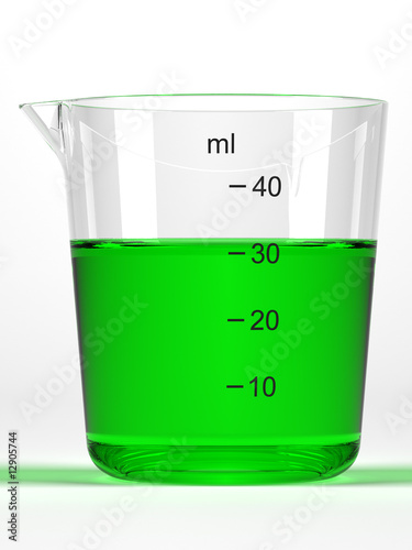 Graduated glass with green liquid on white background