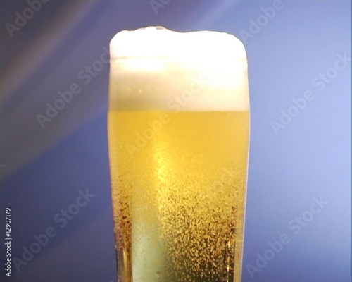 Close-up on a glass of beer.