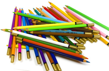 Chaotic heap of color wooden pencils