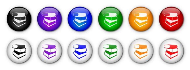 "Boutons ""Livres"" (x12 - multicolores)"