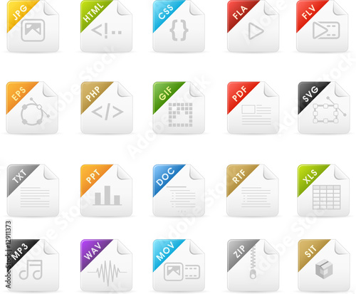 Squaro icon set: File extensions and Document icons
