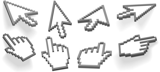 Cursor arrow and hand  pixel 3D cursors 8 angle variations