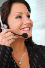 Business Woman With Earphone