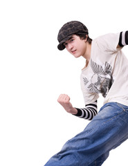 Teenage boy dancing Locking or Hip-hop