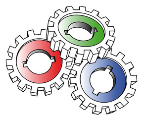 vector cogwheels - isolated illustration on white
