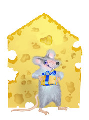 A mouse is given by the piece of cheese