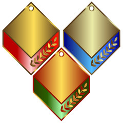 Gold, silver and bronze banners on white background