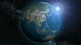 Planet earth with Lens-flare poster