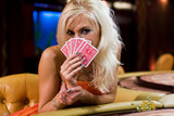 young europian woman in a casino