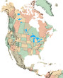 North America map with US States and Canadian Provinces