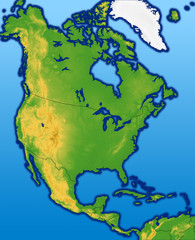 Terrain North America Map