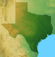 Map of Texas plus the surrounding area