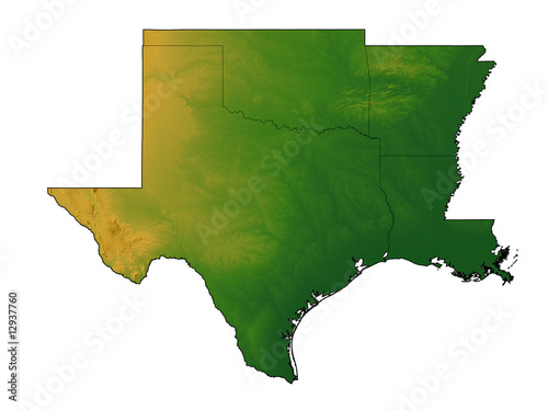 Terrain map of Texas, Oklahoma, Arkansas, and Louisiana