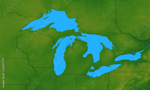 Terrain Map of the Great Lakes States