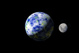 Earth and Moon from outer spacae poster
