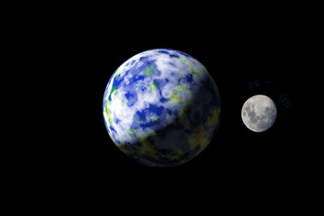 Earth and Moon from outer spacae