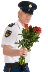 Police man with roses