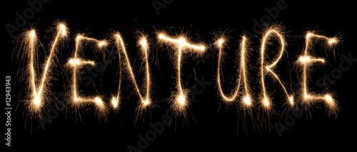 Word venture written sparkler.