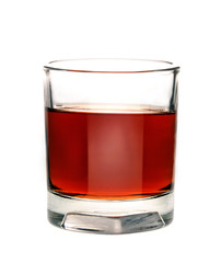 brandy in glass on white background