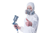Fototapety Worker with airbrush gun giving thumbs up