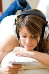 relaxing with headphones