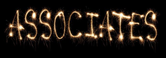 Word associates written sparkler.