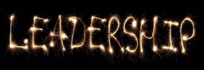 Word leadership written sparkler.