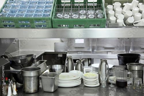 Restaurant kitchen dishwasher area - 12947910