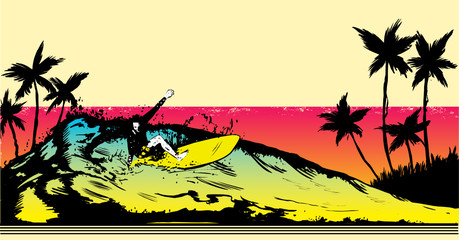 Retro style beach scene with surfer illustration