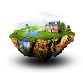Utopia homeland on the floating ground