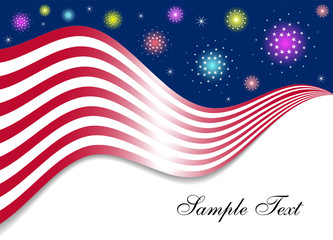Patriotic Background with Fireworks (Vector)