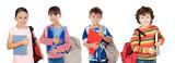 Many children students returning to school poster